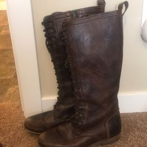 Shin high Lace up leather boots